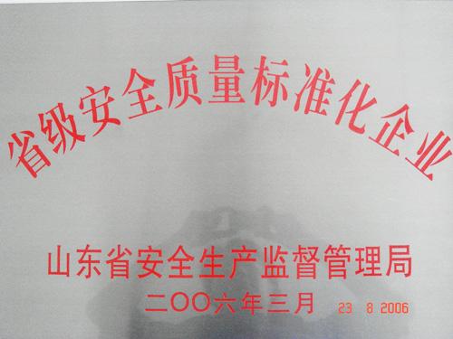 yabo亚博官网山推荣获省级安全质量标准化企业